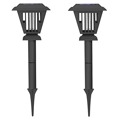 2Pack Solar Bug Zapper LED Light Insect Mosquito Killer Lamp for Indoor Outdoor Use