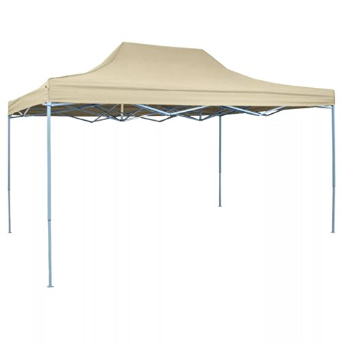 Gecheer Foldable Tent Pop-Up, Outdoor Party Tent, Garden Gazebo Waterproof, UV Protective 3 x 4.5 m Cream White