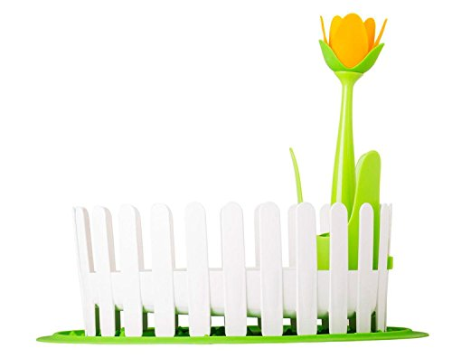 VIGAR Flower Power Escurre Cubiertos con Posa vajillas, Material: Polipropileno y Silicona, Blanco/Verde, 44 X 35.5 X 36 cm, 4 Unidades