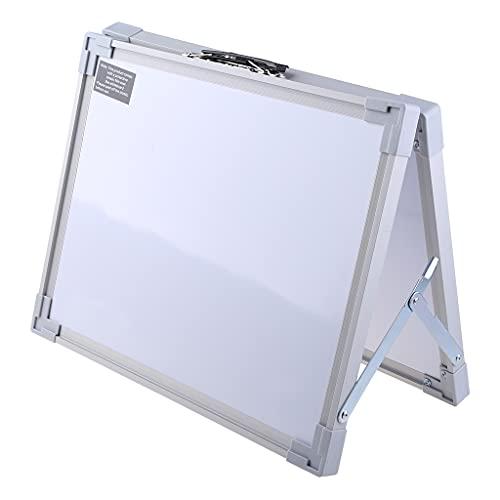HEYLULU Pizarra Blanca Plegable de Escritorio magnética, Mini Caballete de Doble Cara con Soporte para niños, aleación de Aluminio Blanco
