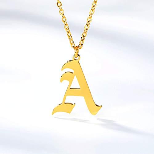 CXWK Collares con Inicial de Letra AZ para Mujeres, Hombres, Oro Rosa, Plata, Acero Inoxidable, Cadena, Colgante, Collar, joyería, 45 cm
