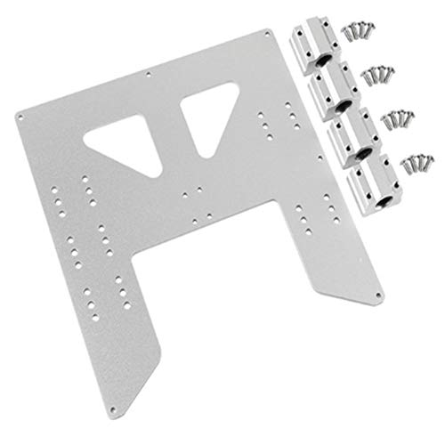 Essenc ActualizacióN de Impresora 3D Placa de Aluminio Anodizado con Carro y para Soporte de Cama Caliente A8 para Impresoras 3D Prusa I3 Anet A8 Plata