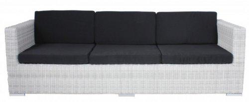 Multi Sofa Gartensofa mit Kissen Poly-Rattan, white wash
