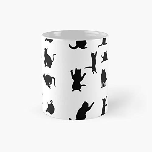 Taza clásica con silueta de gato | El mejor regalo divertidas tazas de café de 325 ml