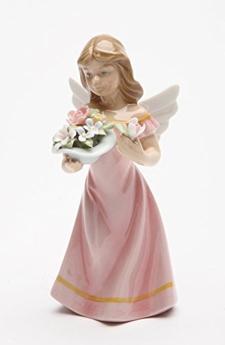 Cosmos Gifts 20861 Angel in Pink Dress Holding Flowers Ceramic Figurine, 5-3/8-Inch