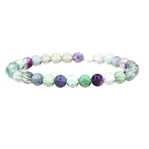 (Aaa Grade Clear Fluorite) - Amandastone Gem Semi Precious Gemstone 6mm Round Beads Stretch Bracelet 7