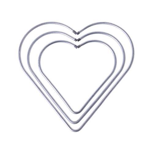 VOSAREA Drahtringe Set Herz Form Metall Ringe Handwerk für Traumfänger DIY Handwerk 8cm 10cm 12cm 3 Stück (Silber)