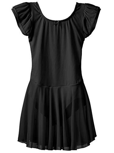 Dancina Mädchen Kurzarm Ballettkleid aus Baumwolle mit Flügelärmeln 104/110 Schwarz