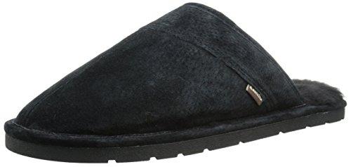 Lamo Men's Scuff Slipper - Suede Shoe, Black, L M US