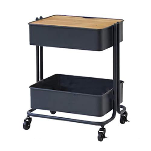 Tables basses Salon Meuble De Rangement Roue Mobile Petite Maison Canapé en Fer Forgé Côté Coin Table Latérale Cadeau (Color : Black, Size : 50 * 37 * 58.5cm)