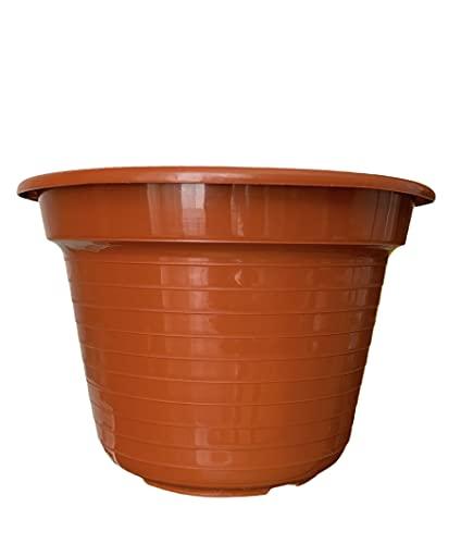 Maceta Redonda Marron para Plantas y Flores Mediterránea Recipiente Ideal para Jardín Exterior, Terraza, Balcón e Interior del Hogar 20 x 10 cm