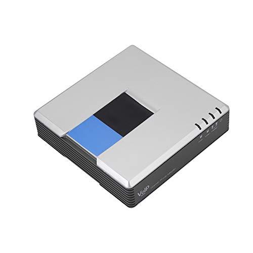 gostcai - Adaptador de teléfono de conexión VoIP de 2 puertos, cable SIP RJ45 para PAP2T, con cable de red, compatible con protocolo DHCP/SIP V2 / fax/compresión multivoz (EU)