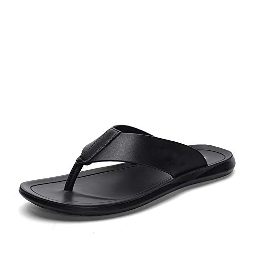 Luyangyund Sandalias deportivas para hombre Flip-Flop para interior y exterior de piel de microfibra, Negro, 105