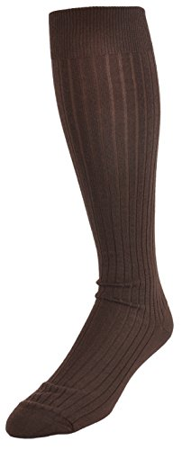 Marcoliani Men's ExtraFine Merino Over-the-Calf Ribbed Dress Sock from Italy One Pair Chocolate