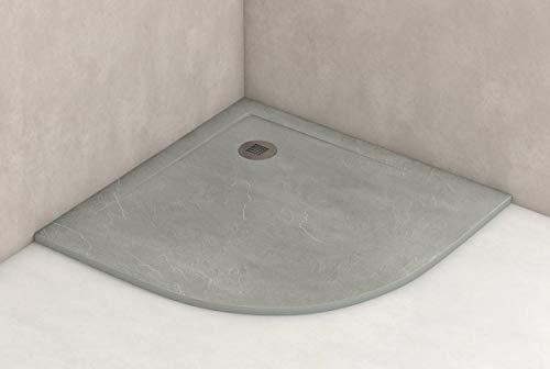 Plato ducha resina antideslizante textura pizarra Smooth Bricodomo 80x80 Semicircular Gris