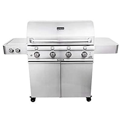 SABER 4-Burner Freestanding Infrared Grill with Side Burner, 40-Inches, Natural Gas (R67SC0017-A00AA5417)