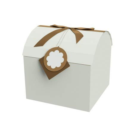 EndlessArtUS Gift Box 12x12x11.5 XXL Brown Treasure Chest Box - Easy to Assemble & Reusable - No Glue Required - Ribbon and Gift Tag Included - EZ Chest Box