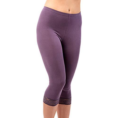 HERMKO 5722 Damen Capri-Leggings mit Spitze, Farbe:pflaume, Größe:52/54 (XXL)