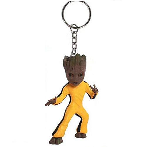 Wächter der Galaxie 2 Groot Groot Schlüsselbund Groot Dekorationen Puppe Handgemachte Dekorationen Kleine Puppe Schlüsselbund (Bruce Lee)