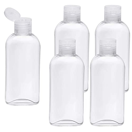 Clear Plastic Empty Squeeze Bottles 5 Pack 3.4oz/100ml with Flip Cap TSA Travel Bottle for Shampoo, Conditioner & Lotion (5 Counts)