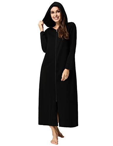Zexxxy Damen Morgenmantel aus Baumwolle Bademantel Nachtwäsche Schwarz M