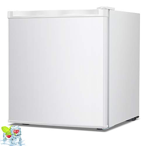 Kismile 1.1 Cu.ft Compact Upright Freezer with Reversible Single Door,Removable Shelves Free Standing Mini Freezer with Adjustable Thermostat for Home/Kitchen/Office
