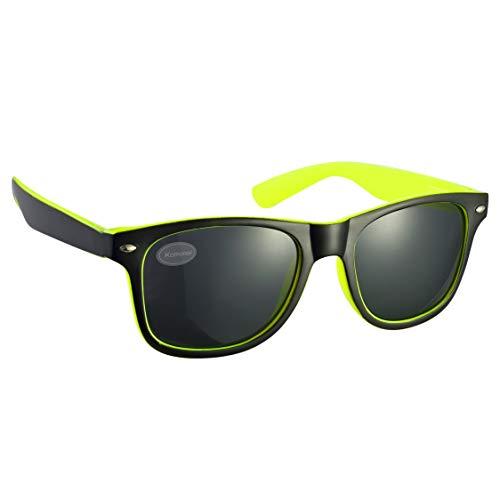 Komonee 2-Tone Schwarz und Bright Gelb Drifter Stil Sonnenbrille UV400 Schutz Unisex (SG-129)