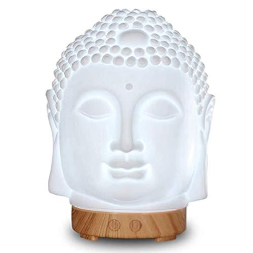 DBGA Difusor de Aceite Esencial de Cabeza de Buda, Difusor de Aromaterapia de Buda, Quemador de Incienso de Cerámica, 100 ml, sin Agua, Apagado Automático, Regalo de Cumpleaños para Mujeres, Zen Yog