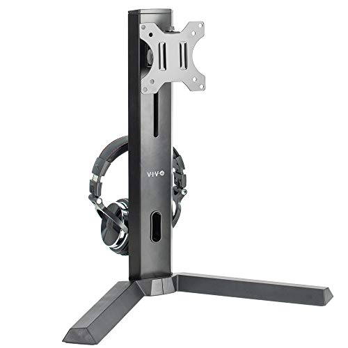 VIVO Black Freestanding Single Monitor Mount, Pro Gaming Desk Stand with Headphone Holder, Height Adjustable Mount for 1 Screen up to 32 inches, STAND-V101F