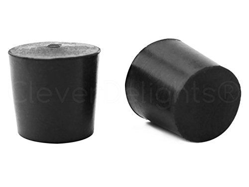 20 Pack - CleverDelights Solid Rubber Stoppers | Size 5 | 29mm x 22mm - 28mm Long - Black Lab Bung Plug #5