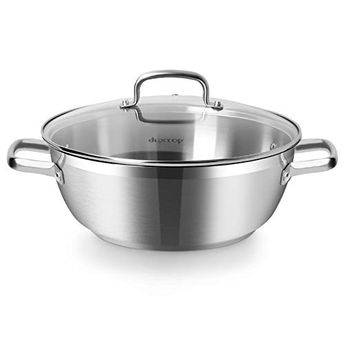 Duxtop Professional Stainless Steel Cooking Pot 57Quart Stock Pot with Glass Lid Impactbonded Technology