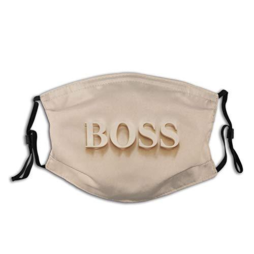 Modische und praktische Sonnencreme, winddichte Ohrringe, Boss-Logo, brauner Gips-Hintergrund, für Männer und Frauen, atmungsaktiver Staub-Mundschutz