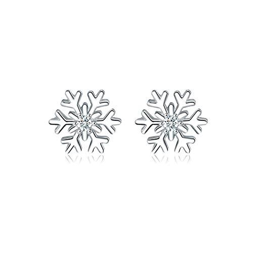 LICHUAN Pendientes de copo de nieve, pendientes de plata de ley 925 con tuerca para cumpleaños, fiesta, Navidad, regalo para mujeres, niñas, esposas y amigas