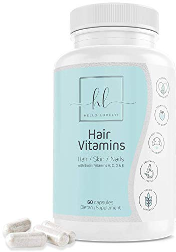 Hair Vitamins by Hello Lovely - Premium Hair Growth Formula for Long, Strong, Healthy Hair - Formulated with Biotin and Folic Acid for All Hair Types - Great for Hair, Skin and Nails - 60 Capsules