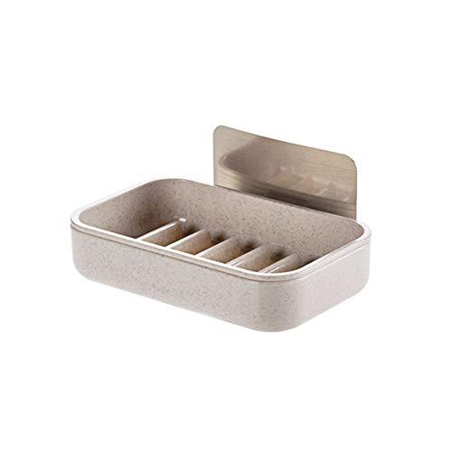 cjcaijun Estante Sostenedor del jabón de Drenaje Plato Esponja de baño Cocina Organizador montado en la Pared Caja de Almacenamiento en Rack Estante Que cuelga la Etiqueta engomada de la suspensión