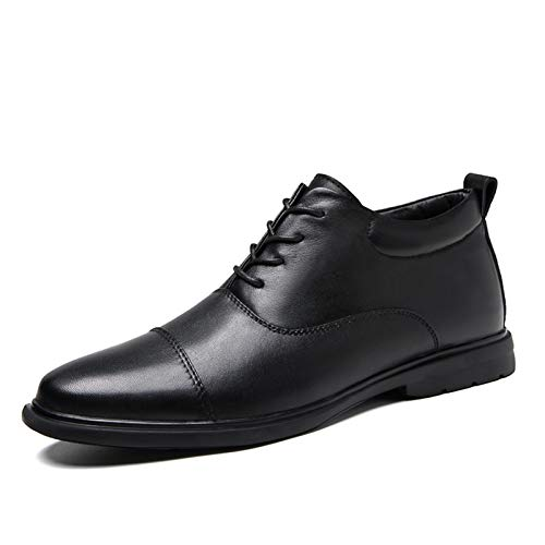 FHUA Derby Boots for Men Cap Toe Toe Lace Up Low Top Top Pull Pull Tap Tap Stiticking Blonc Block Heel Genuine Cuero Ruber Sole Shoes Zapatos de Hombre (Color : Black, Size : 38 EU)