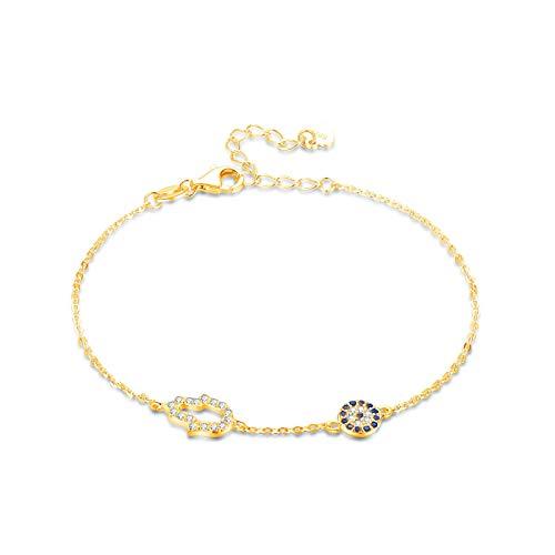 Charm Bracelet Lucky 925 Sterling Silver Hamsa Hand Evil Eye Bracelets For Women Blue Link Chain Gold Jewelry