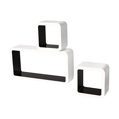 Lestarain LGA026 Juego de 3 Estanteria Cubo de Pared Cuadrada Libreria Repisas Invisibles Estanteria Pared Flotantes Blanco/Negro Decorativo CD 🔥