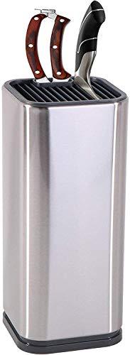 YCOCO Universal-Messerblock mit Schlitzen für Scheren und Schärfstab, Edelstahl-Messerhalter für sichere, platzsparende Messeraufbewahrung, silberfarben, 1 Stück
