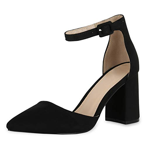 SCARPE VITA Damen Spitze Pumps Chunky High Heels Blockabsatz Party Schuhe 174789 Schwarz 40