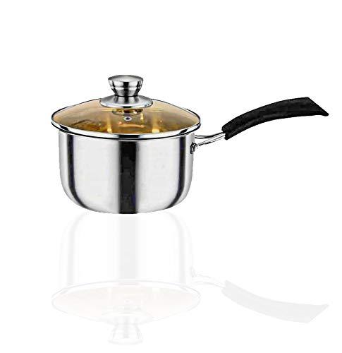 2 Quart Saucepan with Lid Cover Stainless Steel Nonstick Sauce Pan Milk Pot Butter Warmer Melting Pot with Heatproof Handle Multipurpose Cooking Pan/Pot Cookware for Home Kitchen Restaurant