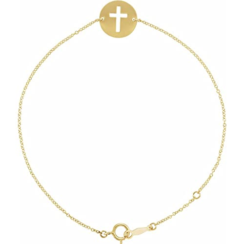 Pulsera de oro amarillo de 14 quilates con 7 diamantes de imitación de religión con cruz de disco de 20 cm