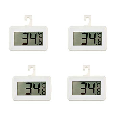 4 PACK Digital Refrigerator Thermometer, Waterproof Freezer Room Thermometer,High Precision Fridge Alarm Thermometer with Hook for Kitchen Home, °C/°F Convertible