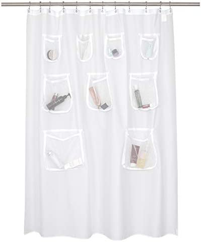 N Y HOME Waterproof Fabric Shower Curtain or Liner with 9 Mesh Pockets White 71x72 Inches product image
