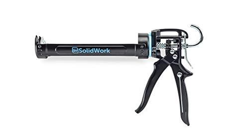 SolidWork Professional Hand Caulking Gun with Highest 26:1 Thrust Ratio | Caulk Gun for processing all 10oz Sealant and Adhesive Cartridges or Tubes | Drip-free Silicone Gun | Black