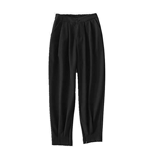 U/A Lässige Hose für Damen mit weitem Bein und mittlerer Taille Gr. M, Schwarz