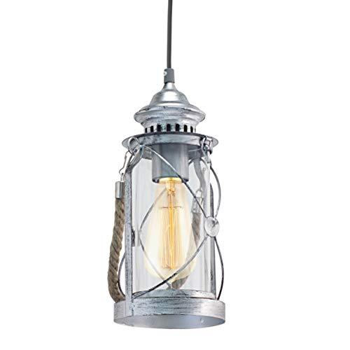EGLO Pendellampe Bradford, 1 flammige Vintage Pendelleuchte, Laterne, Material: Stahl, Farbe: Silber antik, Glas: klar, Fassung: E27
