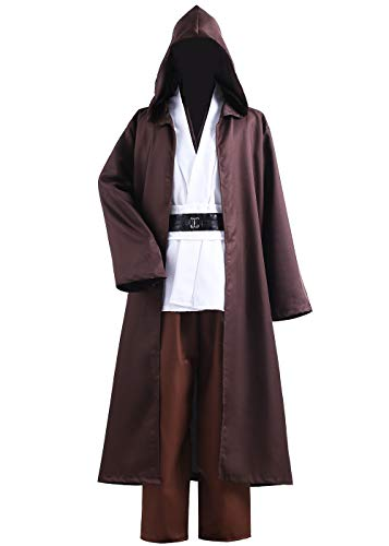 ALIZIWAY Unisex Tunic Jedi Costume Obi Wan Kenobi Halloween Cosplay Hooded Robe Cloak for Adults Y056M