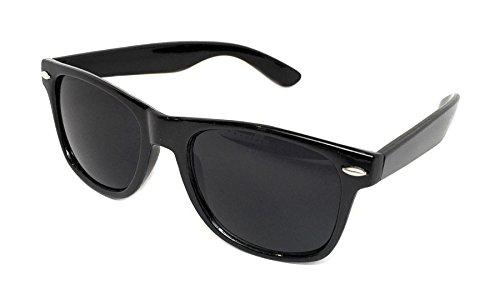 WebDeals Retro - Classic 80's Vintage Style Sunglasses Polarized or Standard Lens, Gloss Black, Super Dark, Large