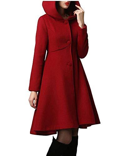Minetom Damen Wintermantel Warm Mantel Taschen Langarm Elegant Mantel Mit Kapuze Damen Ausgestellter Mantel Kleider Winterjacke Outwear Trenchcoat Rot L
